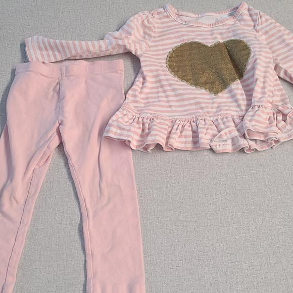 Nannette Striped Heart Top w/ ON Leggings 3T